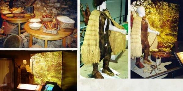 Otzi wardrobe and props. Gijón museum,  Asturias