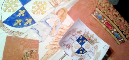 "Painted flags and shields. TVE ""Isabel 3"""