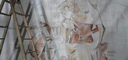 """Fresco painting. TVE """"Carlos, Rey Emperador"""""""